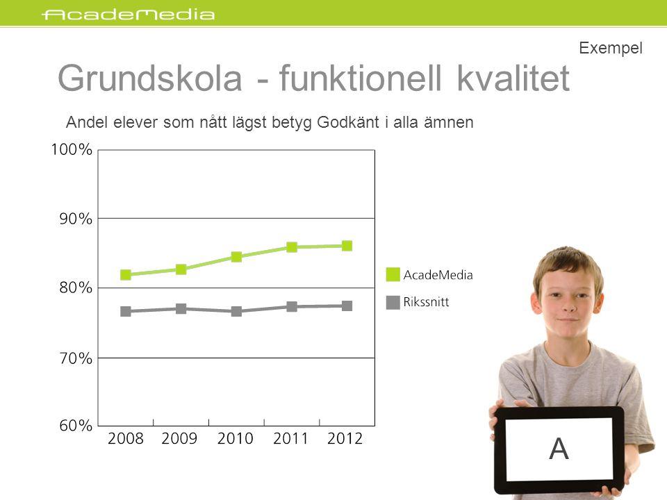 Andel elever som nått lägst betyg Godkänt i alla ämnen Exempel Grundskola - funktionell kvalitet 32 A