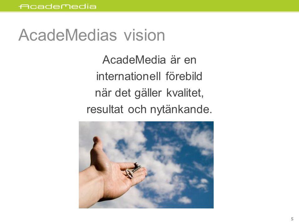 AcadeMedias vision AcadeMedia är en internationell förebild när det gäller kvalitet, resultat och nytänkande.