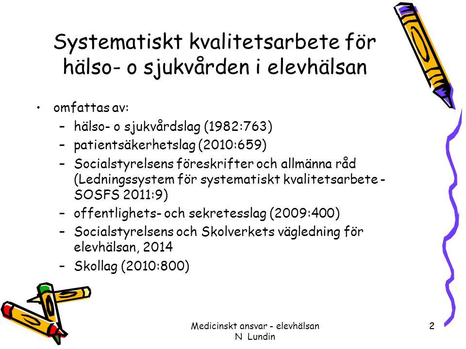 2 Systematiskt kvalitetsarbete för hälso- o sjukvården i elevhälsan omfattas av: –hälso- o sjukvårdslag (1982:763) –patientsäkerhetslag (2010:659) –So