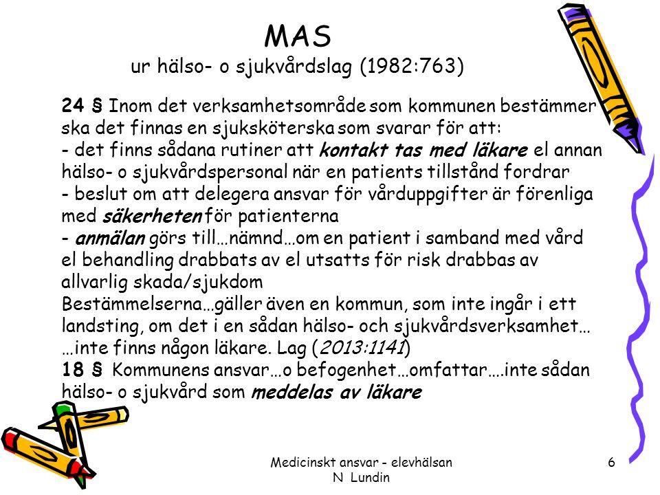 MAS ur hälso- o sjukvårdslag (1982:763) 24 § Inom det verksamhetsområde som kommunen bestämmer ska det finnas en sjuksköterska som svarar för att: - d