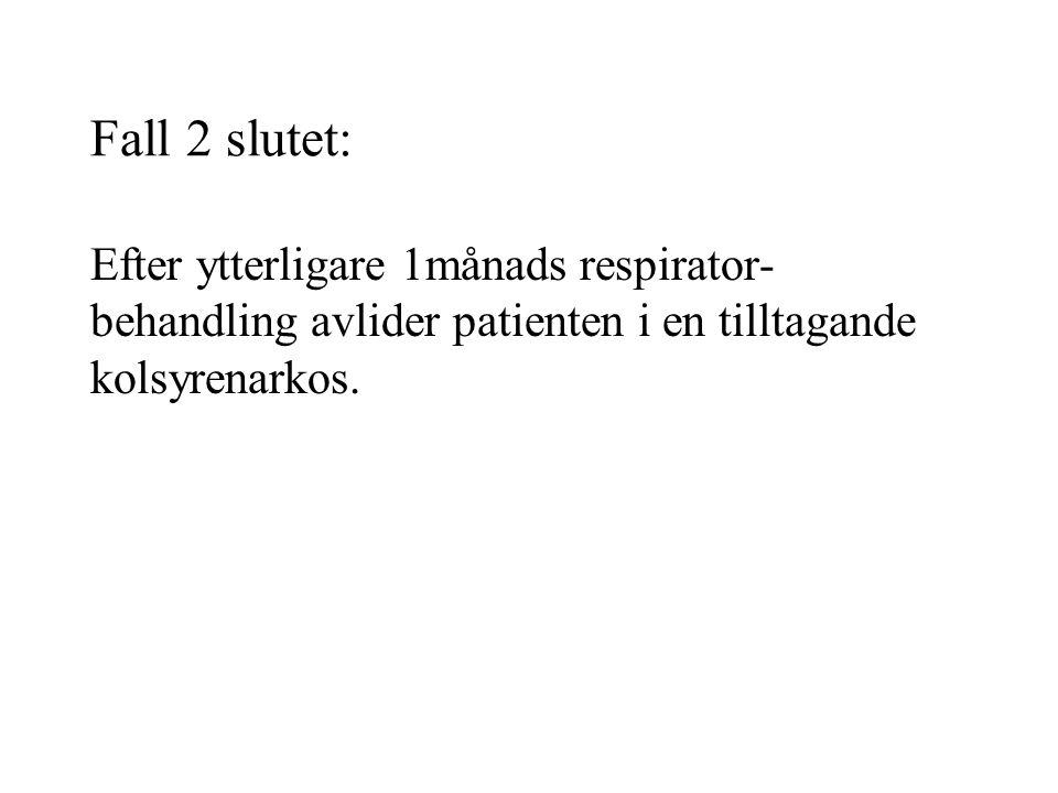Fall 2 slutet: Efter ytterligare 1månads respirator- behandling avlider patienten i en tilltagande kolsyrenarkos.