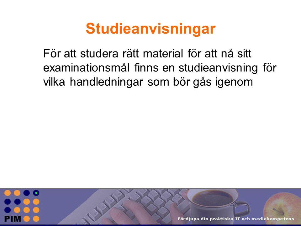 Studieanvisningar För att studera rätt material för att nå sitt examinationsmål finns en studieanvisning för vilka handledningar som bör gås igenom
