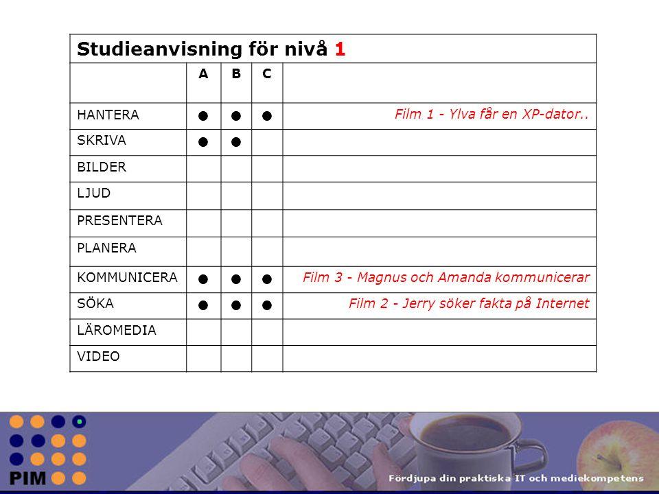Studieanvisning för nivå 1 ABC HANTERA Film 1 - Ylva får en XP-dator..