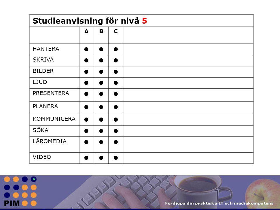 Studieanvisning för nivå 5 ABC HANTERA SKRIVA BILDER LJUD PRESENTERA PLANERA KOMMUNICERA SÖKA LÄROMEDIA VIDEO