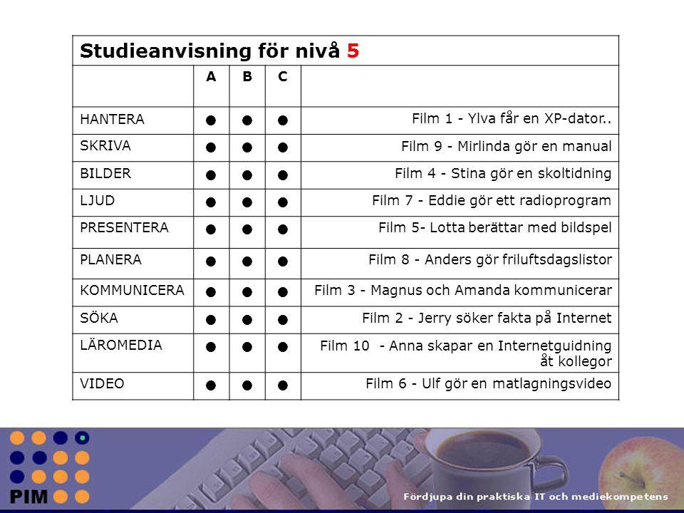 Studieanvisning för nivå 5 ABC HANTERA Film 1 - Ylva får en XP-dator..