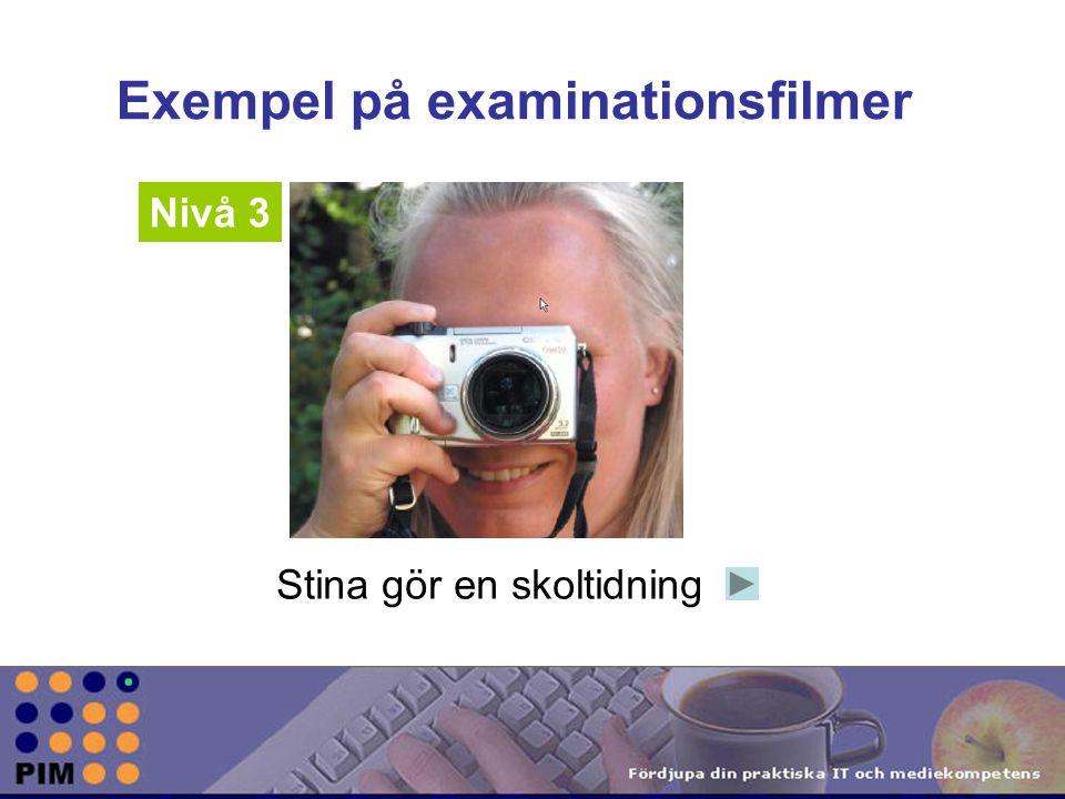 Exempel på examinationsfilmer Nivå 3 Stina gör en skoltidning