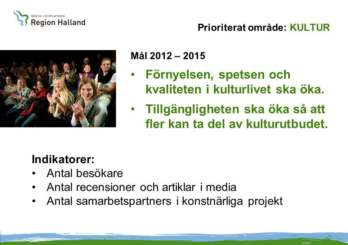 Prioriterat område: KULTUR Mål 2012 – 2015 Förnyelsen, spetsen och kvaliteten i kulturlivet ska öka.