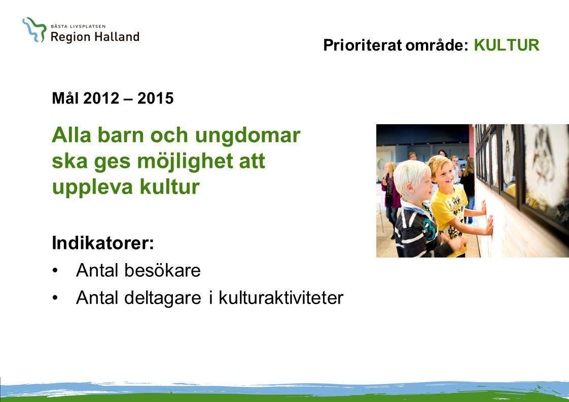 Prioriterat område: KULTUR Mål 2012 – 2015 Alla barn och ungdomar ska ges möjlighet att uppleva kultur Indikatorer: Antal besökare Antal deltagare i kulturaktiviteter