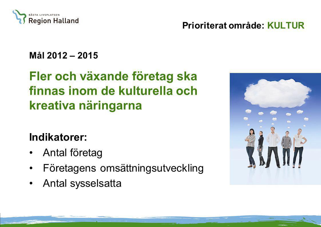 Prioriterat område: KULTUR Mål 2012 – 2015 Fler och växande företag ska finnas inom de kulturella och kreativa näringarna Indikatorer: Antal företag Företagens omsättningsutveckling Antal sysselsatta