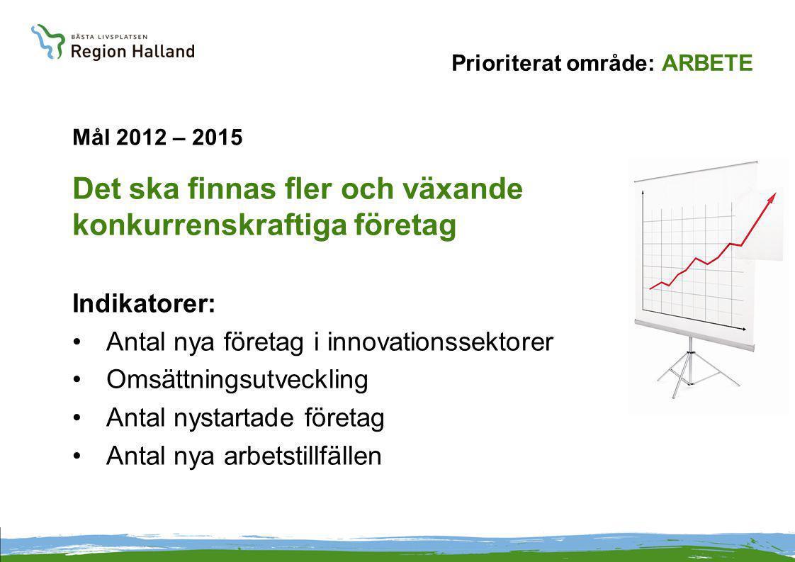 Prioriterat område: ARBETE Mål 2012 – 2015 Det ska finnas fler och växande konkurrenskraftiga företag Indikatorer: Antal nya företag i innovationssektorer Omsättningsutveckling Antal nystartade företag Antal nya arbetstillfällen