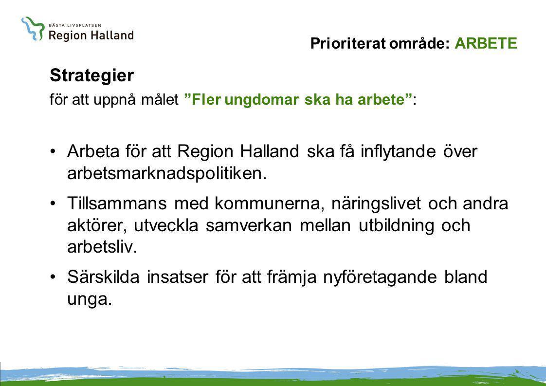 Prioriterat område: ARBETE Strategier för att uppnå målet Fler ungdomar ska ha arbete : Arbeta för att Region Halland ska få inflytande över arbetsmarknadspolitiken.