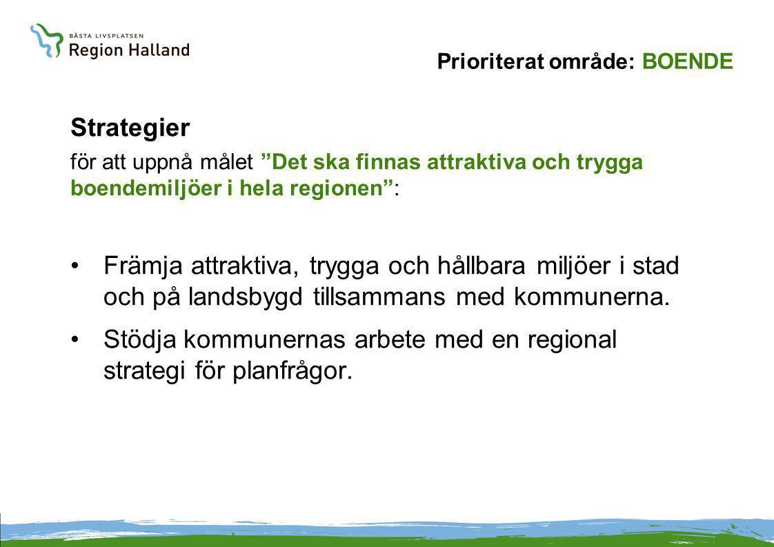 Prioriterat område: BOENDE Strategier för att uppnå målet Det ska finnas attraktiva och trygga boendemiljöer i hela regionen : Främja attraktiva, trygga och hållbara miljöer i stad och på landsbygd tillsammans med kommunerna.
