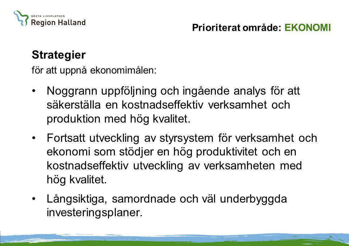 Prioriterat område: EKONOMI Strategier för att uppnå ekonomimålen: Noggrann uppföljning och ingående analys för att säkerställa en kostnadseffektiv verksamhet och produktion med hög kvalitet.
