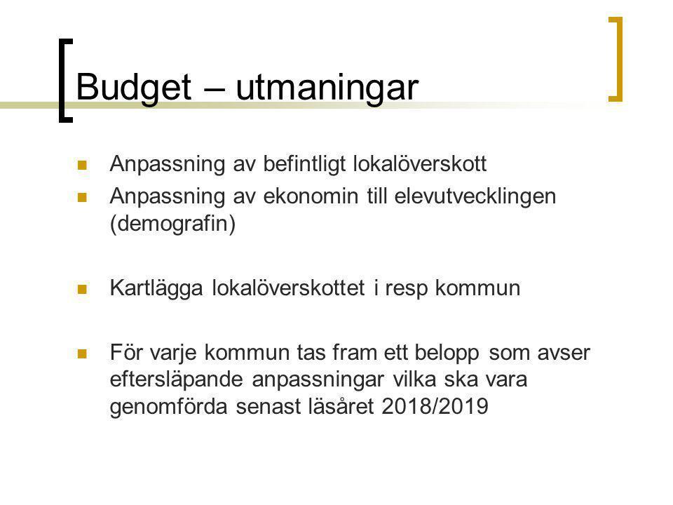 Budget – utmaningar Anpassning av befintligt lokalöverskott Anpassning av ekonomin till elevutvecklingen (demografin) Kartlägga lokalöverskottet i res