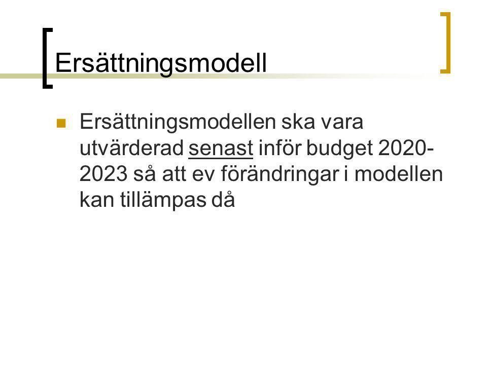 Ersättningsmodell Ersättningsmodellen ska vara utvärderad senast inför budget 2020- 2023 så att ev förändringar i modellen kan tillämpas då
