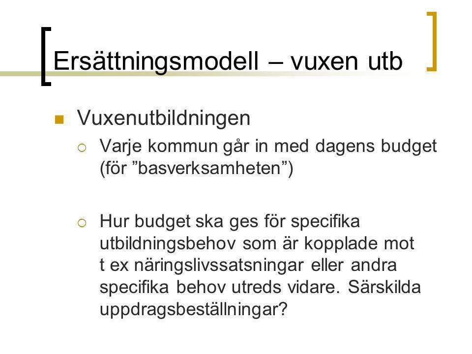 """Ersättningsmodell – vuxen utb Vuxenutbildningen  Varje kommun går in med dagens budget (för """"basverksamheten"""")  Hur budget ska ges för specifika utb"""
