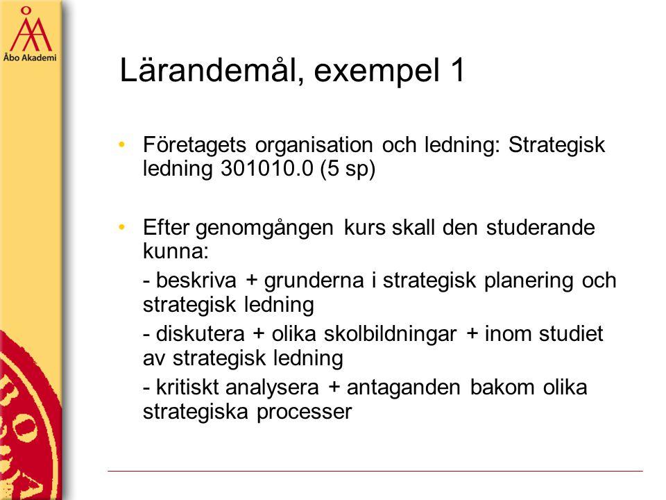 Lärandemål, exempel 1 Företagets organisation och ledning: Strategisk ledning 301010.0 (5 sp) Efter genomgången kurs skall den studerande kunna: - bes