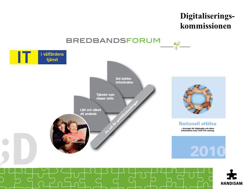 Lätt och säkert att använda Digitalt innanförskap Alla som vill ska kunna använda de möjligheter som digitaliseringen erbjuder Beslutade insatser Vägledning för Webbutveckling Funktionshinderspolitisk strategi Digitalt innaförskap/åtgärder Uppdrag om statistik och indikatorer för e-tillgänglighet – Handisam Användningsforum