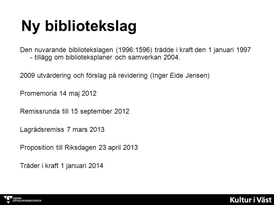 Ny bibliotekslag Den nuvarande bibliotekslagen (1996:1596) trädde i kraft den 1 januari 1997 - tillägg om biblioteksplaner och samverkan 2004. 2009 ut