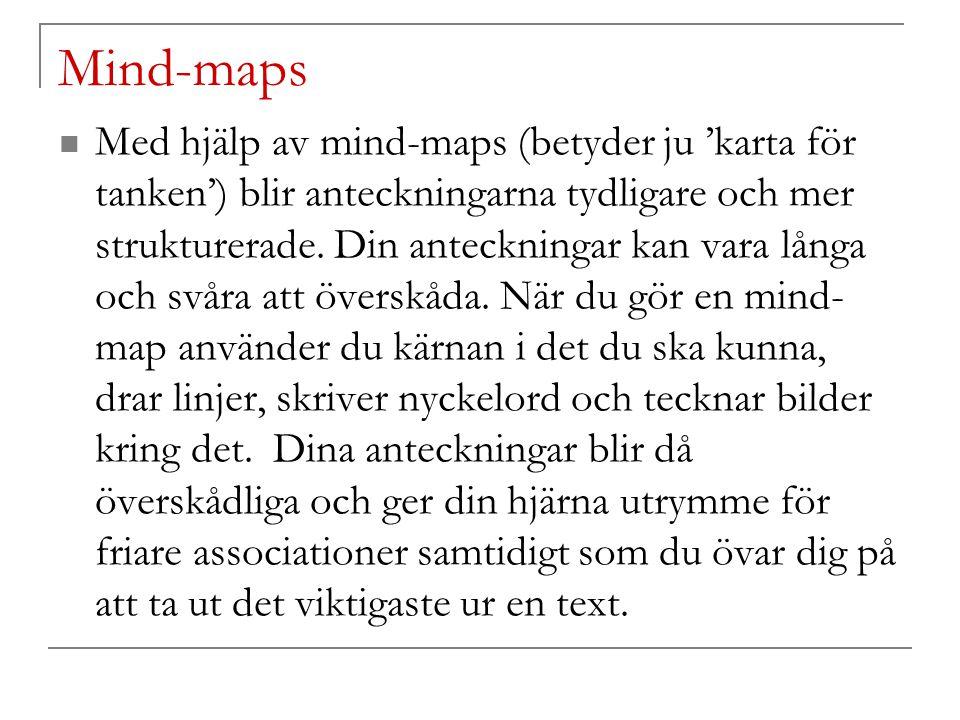 Mind-maps Med hjälp av mind-maps (betyder ju 'karta för tanken') blir anteckningarna tydligare och mer strukturerade. Din anteckningar kan vara långa