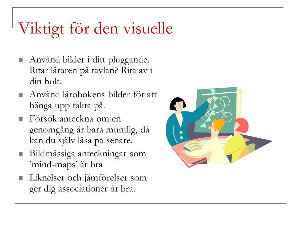 Viktigt för den visuelle Använd bilder i ditt pluggande. Ritar läraren på tavlan? Rita av i din bok. Använd lärobokens bilder för att hänga upp fakta