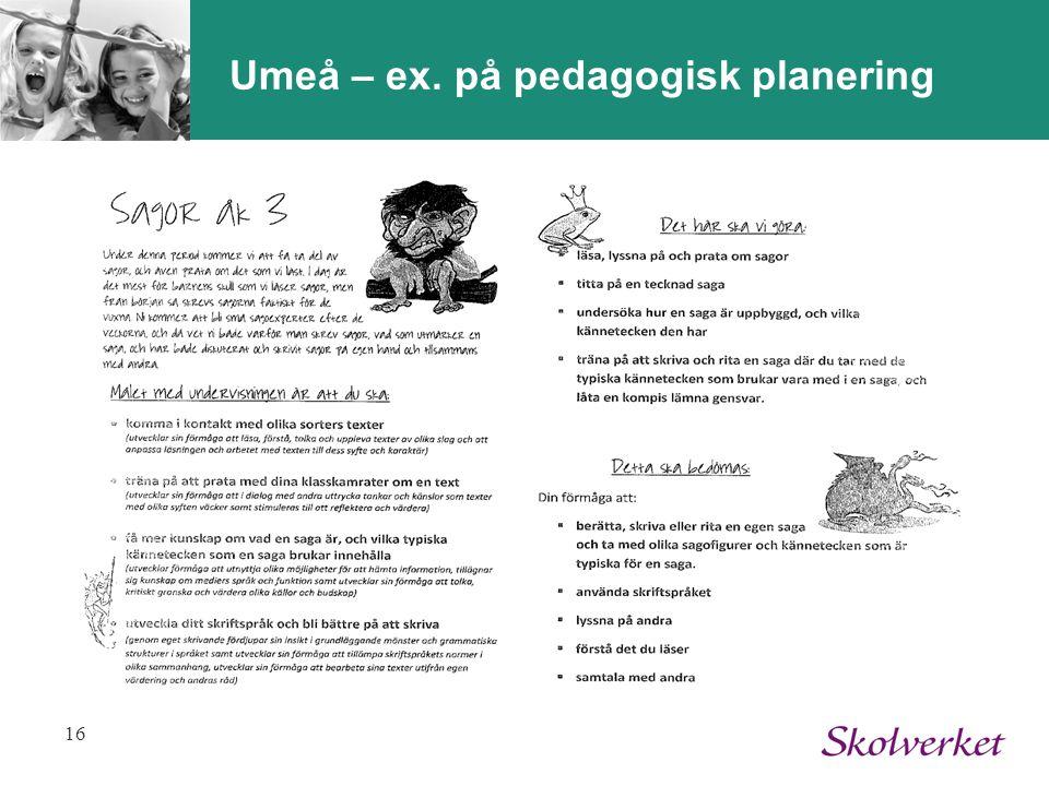 16 Umeå – ex. på pedagogisk planering