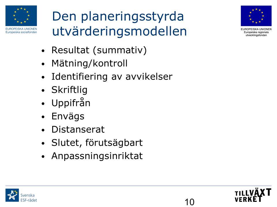 10 Den planeringsstyrda utvärderingsmodellen Resultat (summativ) Mätning/kontroll Identifiering av avvikelser Skriftlig Uppifrån Envägs Distanserat Sl