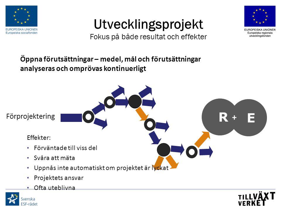 Utvecklingsprojekt Fokus på både resultat och effekter R E + Effekter: Förväntade till viss del Svåra att mäta Uppnås inte automatiskt om projektet är