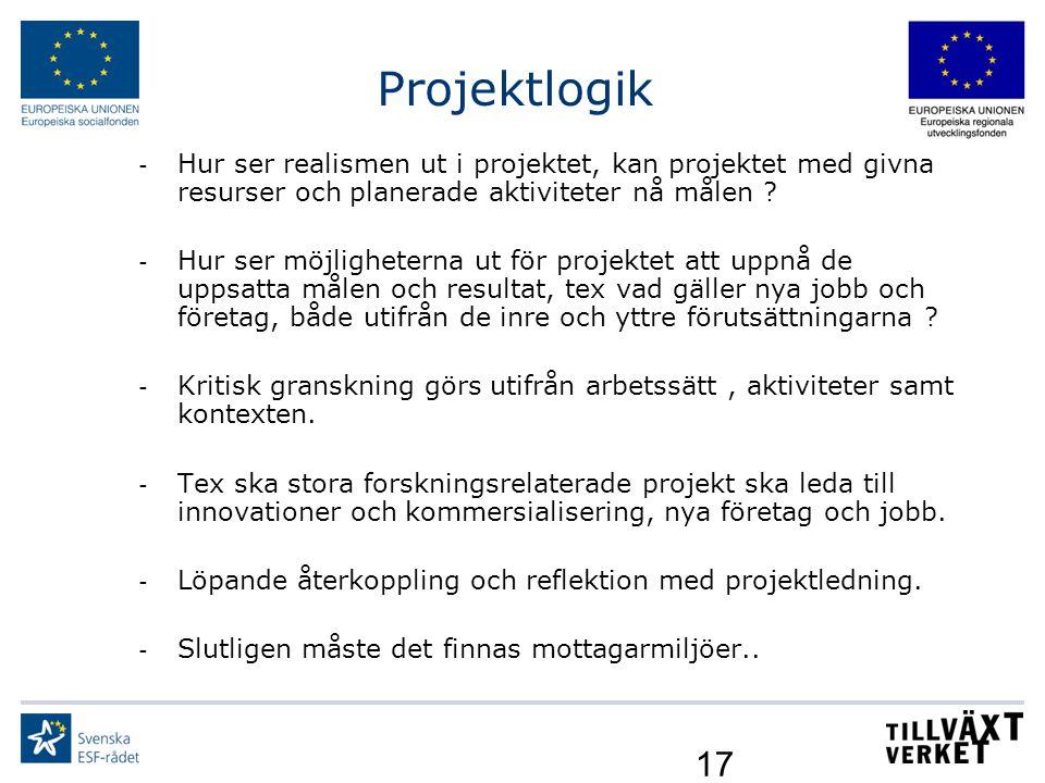 17 Projektlogik - Hur ser realismen ut i projektet, kan projektet med givna resurser och planerade aktiviteter nå målen ? - Hur ser möjligheterna ut f