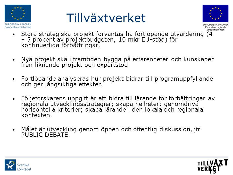Tillväxtverket 19 Stora strategiska projekt förväntas ha fortlöpande utvärdering (4 – 5 procent av projektbudgeten, 10 mkr EU-stöd) för kontinuerliga