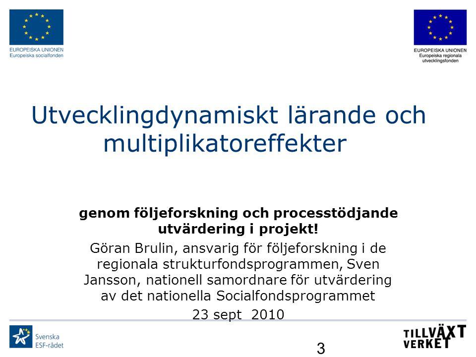 3 Utvecklingdynamiskt lärande och multiplikatoreffekter genom följeforskning och processtödjande utvärdering i projekt! Göran Brulin, ansvarig för föl
