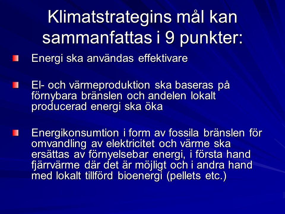 Klimatstrategins mål kan sammanfattas i 9 punkter: Energi ska användas effektivare El- och värmeproduktion ska baseras på förnybara bränslen och andel