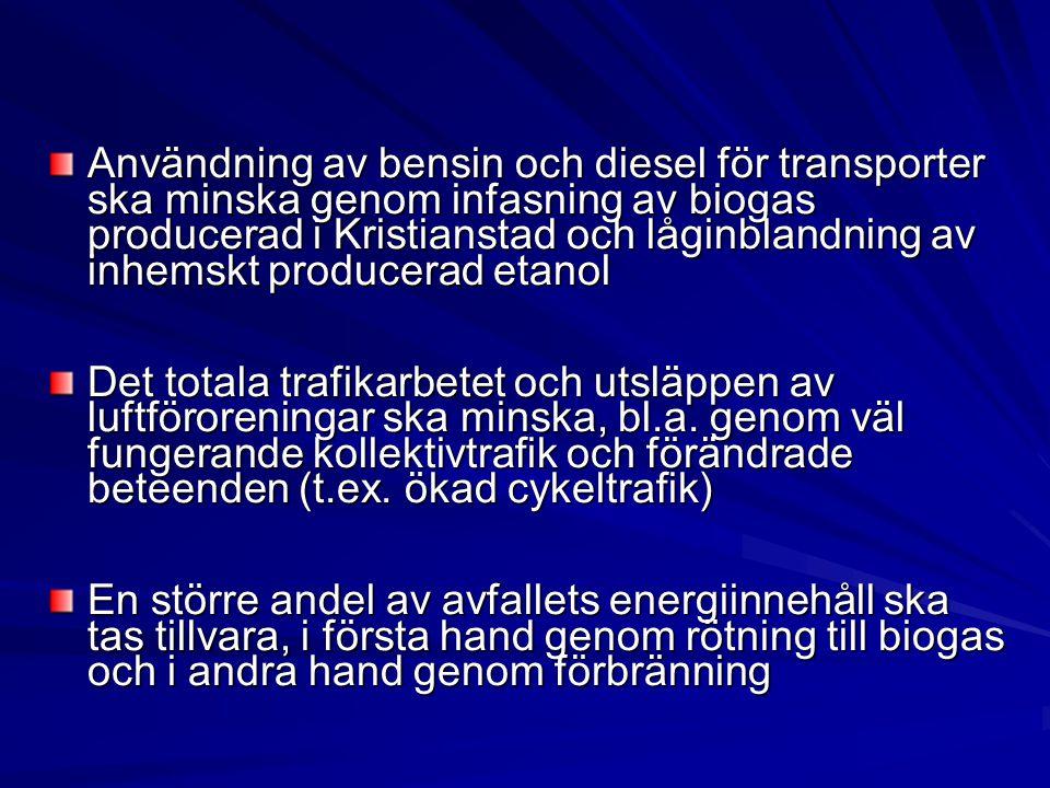 Användning av bensin och diesel för transporter ska minska genom infasning av biogas producerad i Kristianstad och låginblandning av inhemskt producer