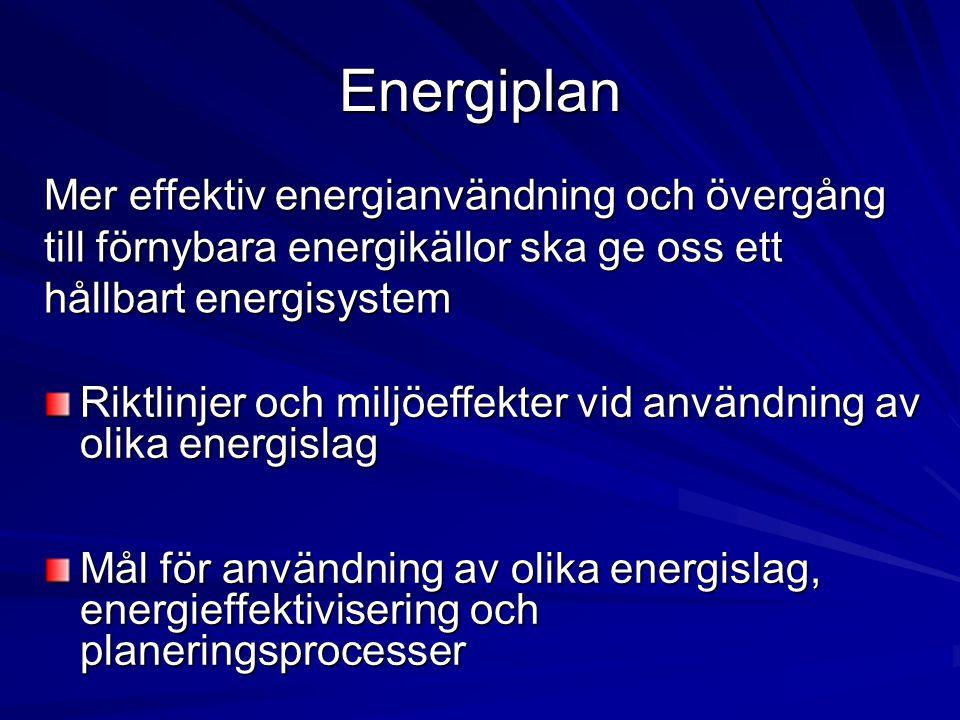 Energiplan Riktlinjer och miljöeffekter vid användning av olika energislag Mål för användning av olika energislag, energieffektivisering och planering
