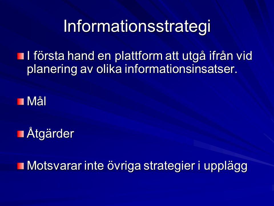 Informationsstrategi I första hand en plattform att utgå ifrån vid planering av olika informationsinsatser. MålÅtgärder Motsvarar inte övriga strategi