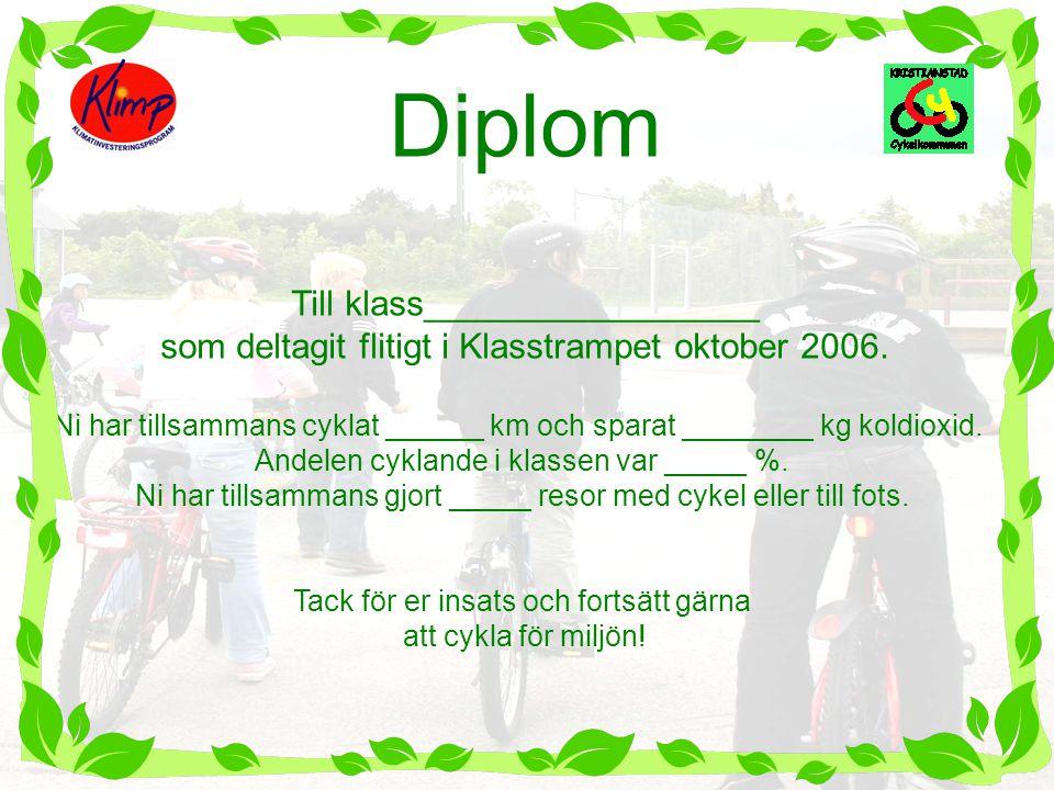 Diplom Till klass_________________ som deltagit flitigt i Klasstrampet oktober 2006. Ni har tillsammans cyklat ______ km och sparat ________ kg koldio