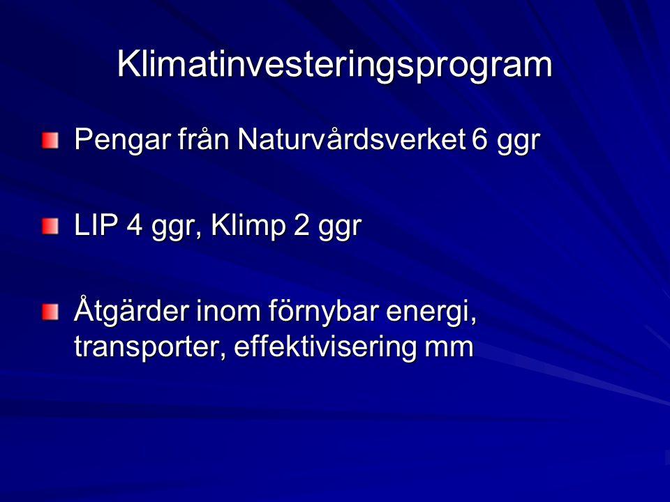 Klimatinvesteringsprogram Pengar från Naturvårdsverket 6 ggr LIP 4 ggr, Klimp 2 ggr Åtgärder inom förnybar energi, transporter, effektivisering mm