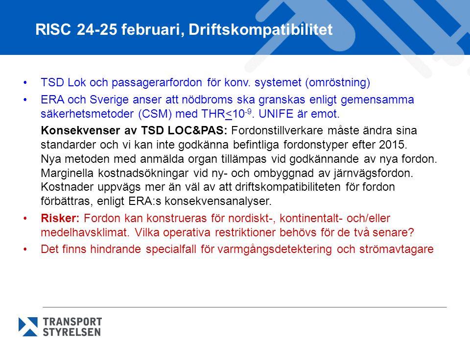 TSD Lok och passagerarfordon för konv. systemet (omröstning) ERA och Sverige anser att nödbroms ska granskas enligt gemensamma säkerhetsmetoder (CSM)