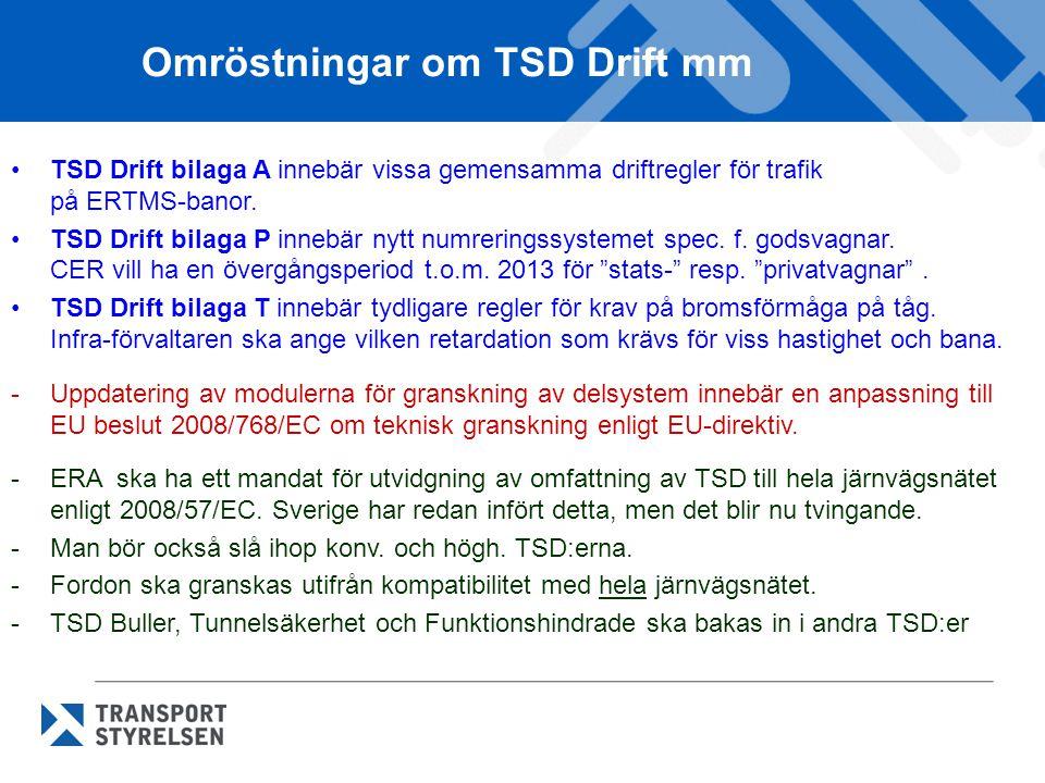 Omröstningar om TSD Drift mm TSD Drift bilaga A innebär vissa gemensamma driftregler för trafik på ERTMS-banor. TSD Drift bilaga P innebär nytt numrer