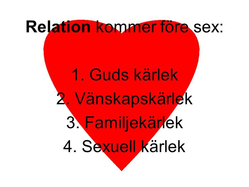 Relationen mellan man och kvinna och sex är Guds idé Därför ska en man lämna sig far och sin mor och hålla sig till sin hustru, och de ska bli ett kött 1 Mos 2:24