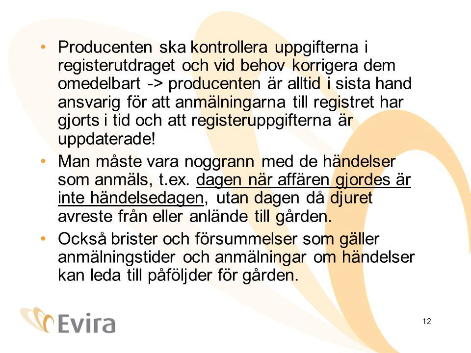 12 Producenten ska kontrollera uppgifterna i registerutdraget och vid behov korrigera dem omedelbart -> producenten är alltid i sista hand ansvarig för att anmälningarna till registret har gjorts i tid och att registeruppgifterna är uppdaterade.