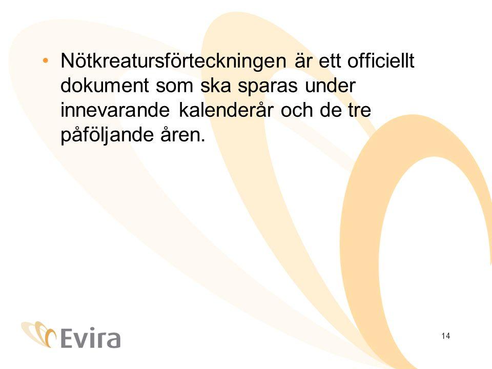 14 Nötkreatursförteckningen är ett officiellt dokument som ska sparas under innevarande kalenderår och de tre påföljande åren.
