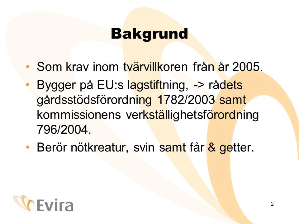 2 Bakgrund Som krav inom tvärvillkoren från år 2005.