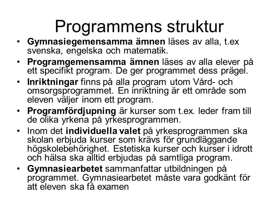 Programmens struktur Gymnasiegemensamma ämnen läses av alla, t.ex svenska, engelska och matematik. Programgemensamma ämnen läses av alla elever på ett