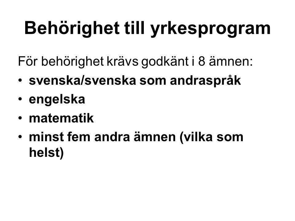 Behörighet till yrkesprogram För behörighet krävs godkänt i 8 ämnen: svenska/svenska som andraspråk engelska matematik minst fem andra ämnen (vilka so