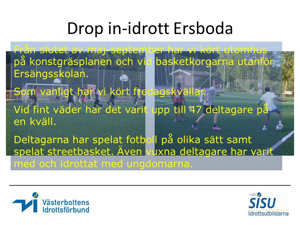 Drop in-idrott Ersboda Från slutet av maj-september har vi kört utomhus på konstgräsplanen och vid basketkorgarna utanför Ersängsskolan. Som vanligt h