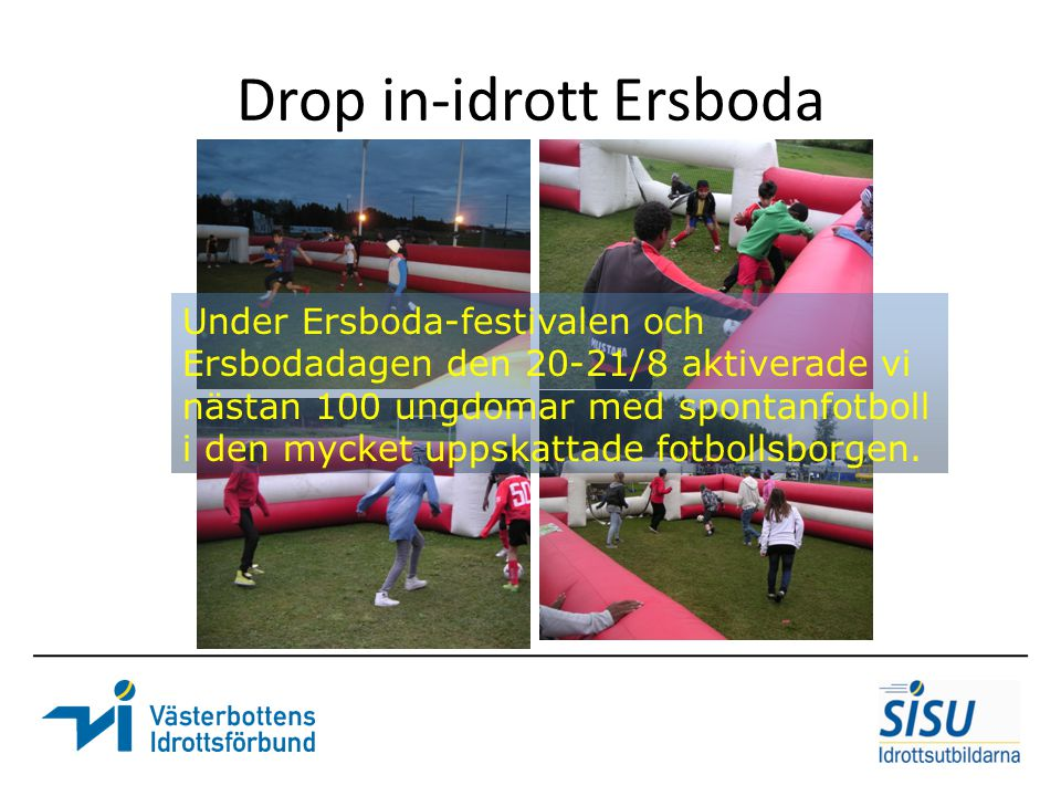 Drop in-idrott Ersboda Under Ersboda-festivalen och Ersbodadagen den 20-21/8 aktiverade vi nästan 100 ungdomar med spontanfotboll i den mycket uppskat