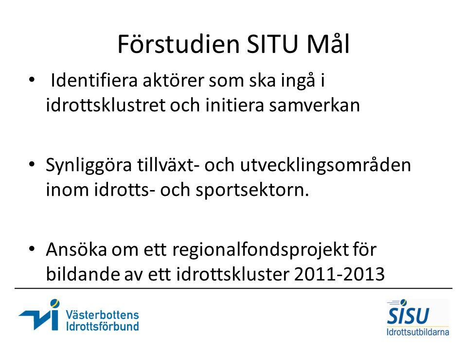 Förstudien SITU Mål Identifiera aktörer som ska ingå i idrottsklustret och initiera samverkan Synliggöra tillväxt- och utvecklingsområden inom idrotts