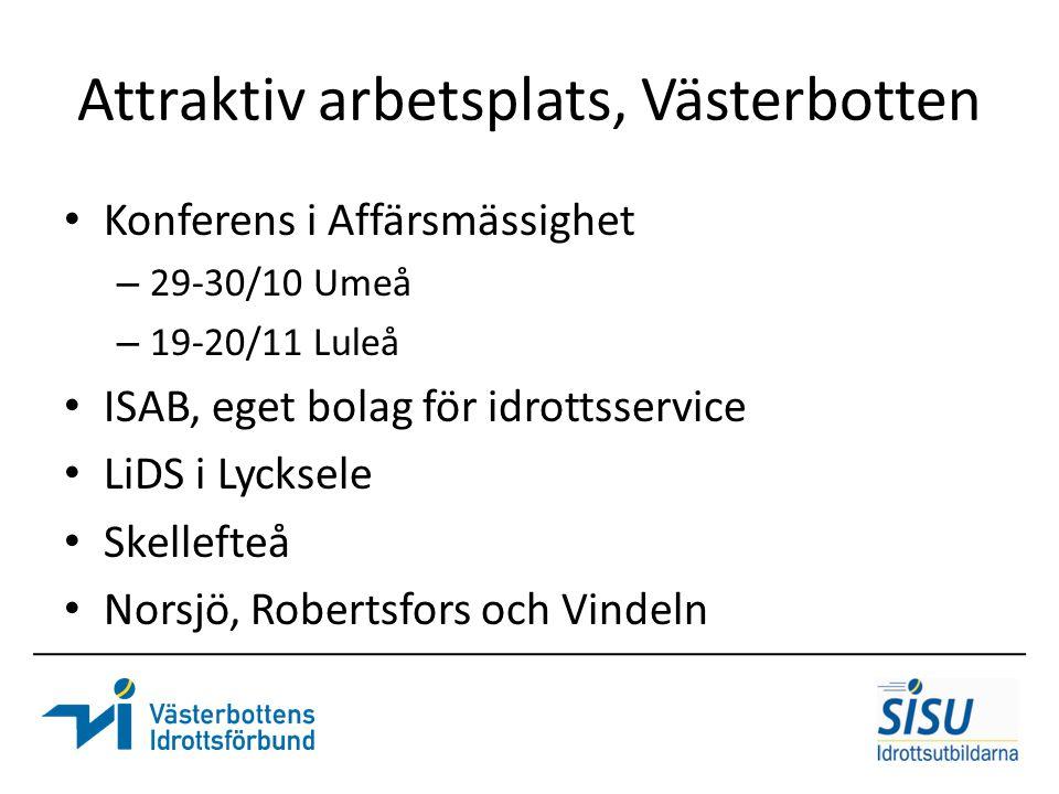 Attraktiv arbetsplats, Västerbotten Konferens i Affärsmässighet – 29-30/10 Umeå – 19-20/11 Luleå ISAB, eget bolag för idrottsservice LiDS i Lycksele S