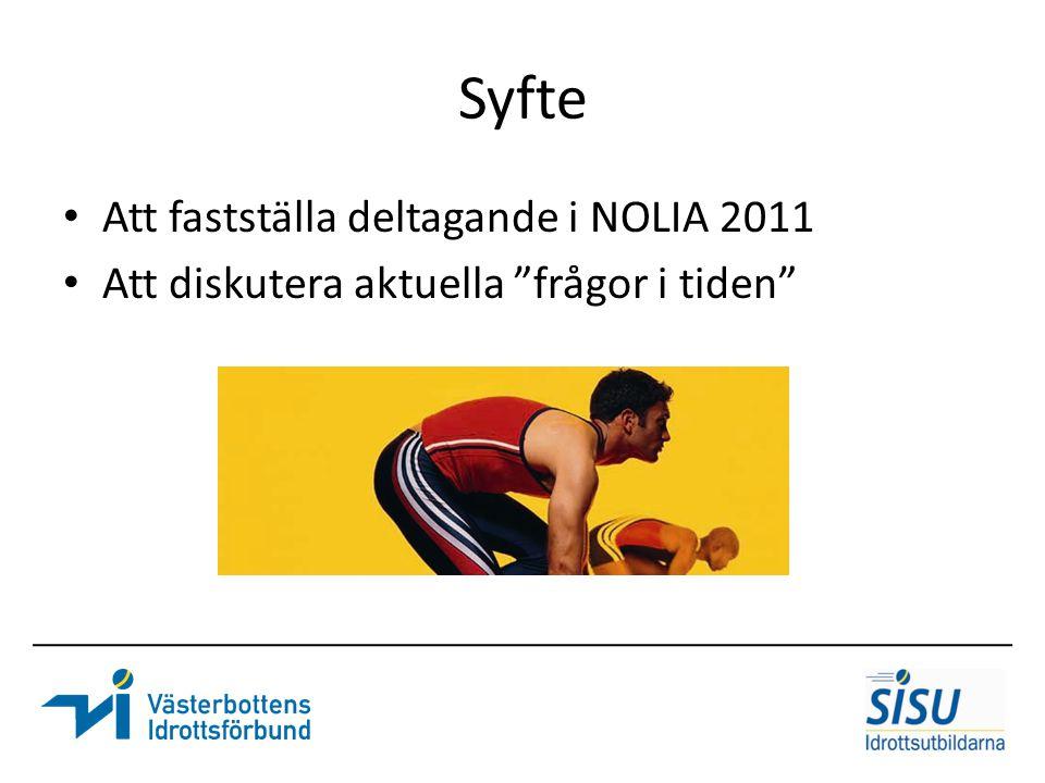 """Syfte Att fastställa deltagande i NOLIA 2011 Att diskutera aktuella """"frågor i tiden"""""""